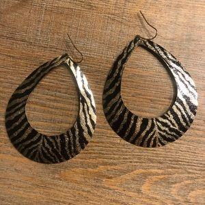 Gold & black leopard earrings